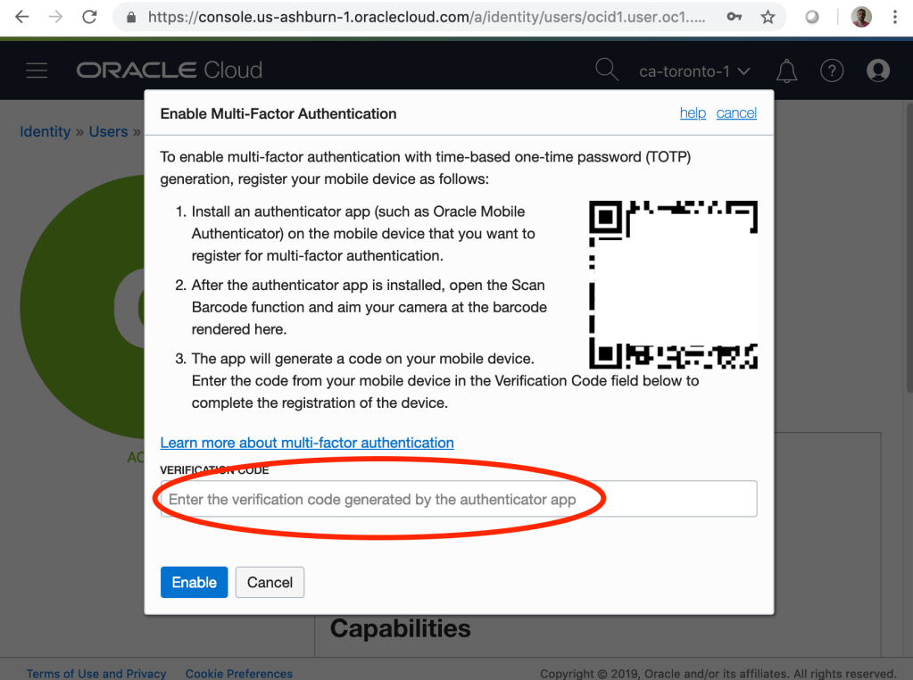 Oracle Cloud Infrastructure multi-factor authentication